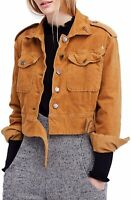 Free People Womens Jacket Brown Size Large L Spread Collar Belted $198 062