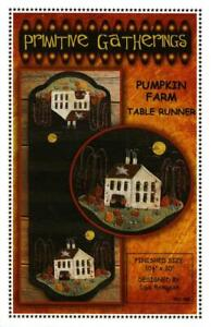 Pumpkin Farm Table Runner Halloween Wool Applique Primitive Gatherings Pattern
