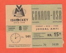 Orig.ticket   Icehockey World Championship NORWAY 1958   CANADA - USA  !  RARITY