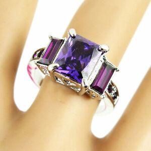 New Betsey Johnson Princess purple GemStone Silver Colour Classic Ring Size 9