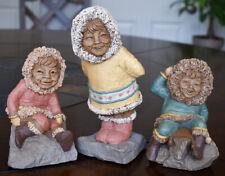"*Lot of 3 Tom Clark Signed Eskimo Gnomes ""Keegloo, Kanuk & Klondike"" 1983 Cairn"