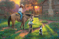 """LED Lighted~Western Horse Cowgirl Canvas Art w/Timer~Picture Decor 24"""" Print"""