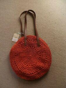 oasis crochet orange tote button up BNWT