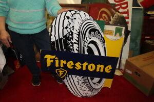 """Large Firestone Tires Gas Station 2 Sided 37"""" Porcelain Metal Flange Sign"""