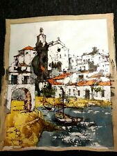 "Bernard Dufour Original Oil On Canvas  Ocean Village Sailboats Docked 14"" x 18"""