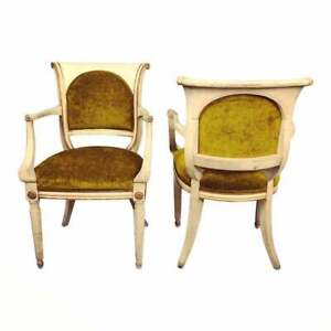 Traditional curved would pair of lounge chairs when you called green upholstery
