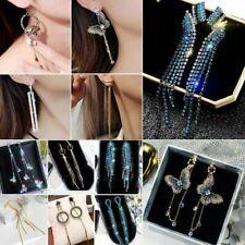 Fashion Long Tassel Crystal Earrings Women Drop Dangle Ear Stud Wedding Jewelry