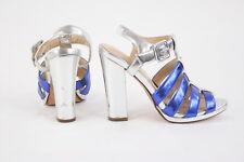Cole Haan Metallic Silver Blue Cage Gladiator Heels Size 6B