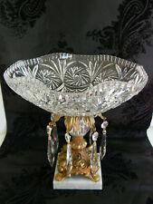 Vintage Crystal Pinwheel Compote~~Ormolu Pedestal~Prisms~HOLLYWOOD REGENCY~ITALY