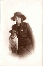 Pretty Grinning Fashionable Young Woman : Jack Russell Terrier : Rppc