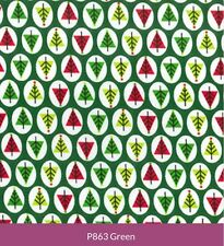 Poly Cotton Fabric - Christmas Trees Green - Polyester & Cotton Mix Metre NEW