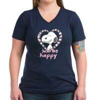 CafePress Snoopy Just Be Happy T Shirt Women's V-Neck Dark T-Shirt (1587425795)
