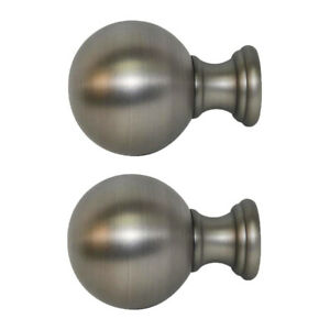 Allen + Roth Set Of 2 Brushed Pewter Finish Drapery Curtain Rod Finials 0773154