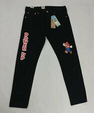 Levi's X Super Mario 501 Black Slim Taper Jeans Men Size 36x32 Nintendo