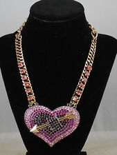 Betsey Johnson Gold HEARTS AND ARROWS Pink Tonal Pave' Large Heart Necklace