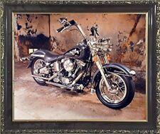 Harley Davidson Black Motorcycle Mahogany Framed Picture Art Print (20x24)