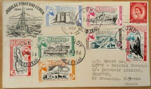 GREAT BRITAIN LUNDY 1953 BRAUNTON COVER REUSED IN 1954 WITH 7 PUFFIN STAMPS