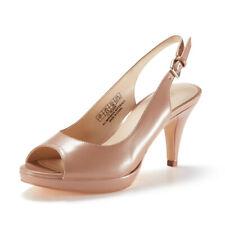 Women's Kitten Heels Slingback Pumps Stiletto Peep Toe Sandals Shoes Nude Pink