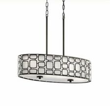 "26"" Kichler Oval bronze pendant light Sabine Modern Contemporary Etched Glass"