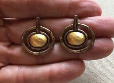 "Chico's Earrings Door-Knocker Geo Sputnik Rings Rhinestone Accent Multi-Tone 1"""