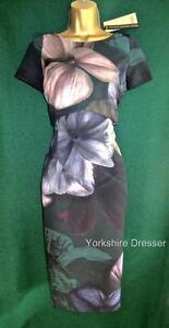 New COAST Uk 8 10 Green Floral Stretch ALBANY PRINT TANNISHA Pencil Shift Dress