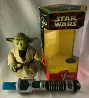 Vintage Star Wars Interactive Yoda And Lightsaber Figure w/ Box - Tiger 2000