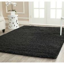 Shaggy Plush Solid Black Color 4 x 6 Ft Size Fluffy Thick Shag Carpet Area Rug
