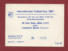 Orig.Ticket   IFC / Intertoto Cup 1987  CARL ZEISS JENA - LAUSANNE SPORTS ! RARE