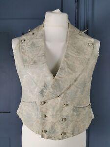 Victorian Antique / c. 1840s Mens Silk Brocade & Print Waistcoat / Vest