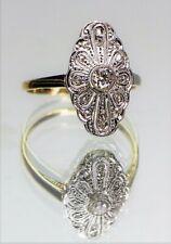 Art Deco Ring 585 Bicolour Gold 1 Brillant und 14 Diamantrosen - 20902 -