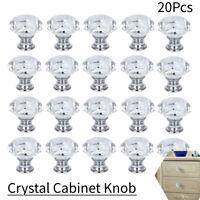 20x  Glass Cabinet Knob Diamond Shape 30mm Drawer Cupboard Handle Pull US