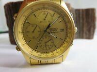 Vintage 1991 Seiko 7T32-7A49 Gold Tone Alarm Chronograph Men's Watch SB1