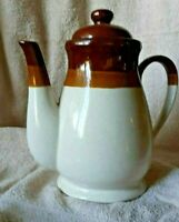 Vintage Ceramic Pottery Coffee/Tea Pot with Lid Brown-Tan-Beige 9""