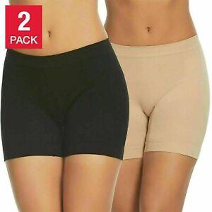 Gloria Vanderbilt 2 Pack Women's Seamless Shaping Slip Short Black/Nude S,M,L