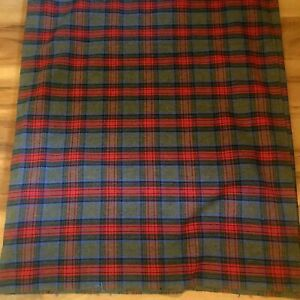 Vintage 100% Plaid Wool Blanket Camp Stadium Throw Lightweight Brown Red Blue