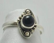 Vintage Antique Estate~Black Onyx 925 Sterling Silver Filigree Ring Size 6.75