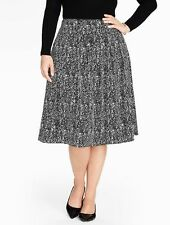NEW $129 TALBOTS Black Abstract Crepe Pleated Skirt Sz 20W