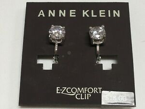 """Anne Klein Clear Round CZ 8 MM Comfort Clip Silver Plated Earrings 3/4"""" New AN58"""