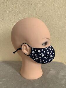 Blue-White Star  Face Covering - Large (Men's) - Washable - Adjustable Straps