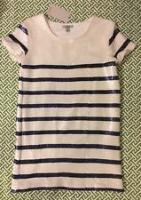 Zara Sequin Navy White French Nautical Stripe Mini Dress Sz S NWT