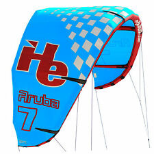 New 2015 7m2, flyHelium Aruba kiteboarding Kite (Blue). Ideal for all levels.