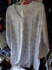 Hutschreuther Nachthemd Gr 48 langarm weiss blau100 cm lang Baumwolle Modal NEU
