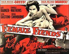 Female Fiends 1958 Cult B Movie Advertisement Vintage Poster Print