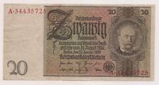 1929 Germany 20 Reichmarks Banknote-Excellent Condition !