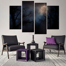 Landscape Black Branches Moon Wall Art Modern Night of Forest Canvas Print 4Pcs