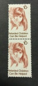 #1549 pair Retarded Children 10 cent Misperforated Error mint NH OG