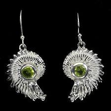 Sterling Silver Earrings Design Set with Genuine Green Peridot Gem