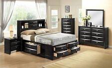 Black Ultimate Storage Bed King Queen or Full Platform Bedroom Set Furniture