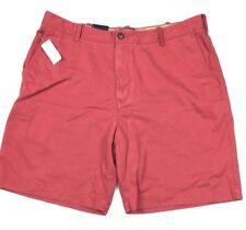NEW IZOD Quality Comfort Flat Front Shorts Pink Cotton Men's 40