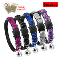 5pcs Sequins Puppy Dog Cat Breakaway Collar Bell Safety Quick Release & Catnip
